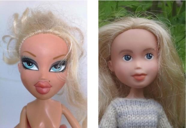 Кукла Барби с макияжем и без него-3