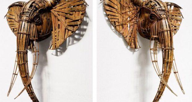 Скульптуры из прутьев и бронзы