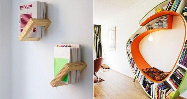 Креативные книжные полки в интерьере дома
