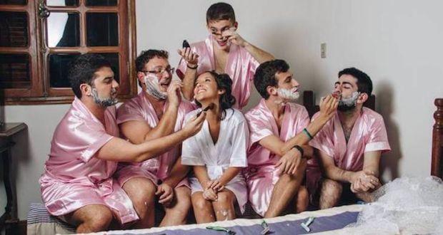 Серия фотографий с девичника Rebeca Brantes, где подружками невесты стали её коллеги-мужчины