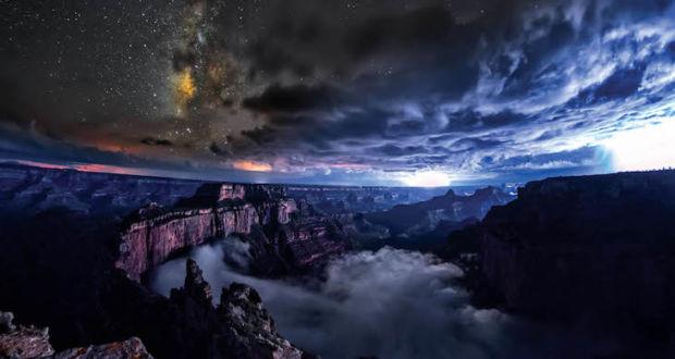 Уникальная съёмка в Гранд-Каньон, запечатлевшая явление инверсия облаков, в рамках проекта SKYGLOW