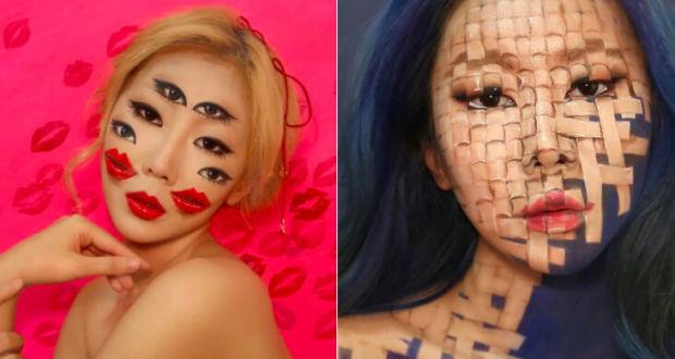 Оптические иллюзии при помощи макияжа в работах художницы Dain Yoon