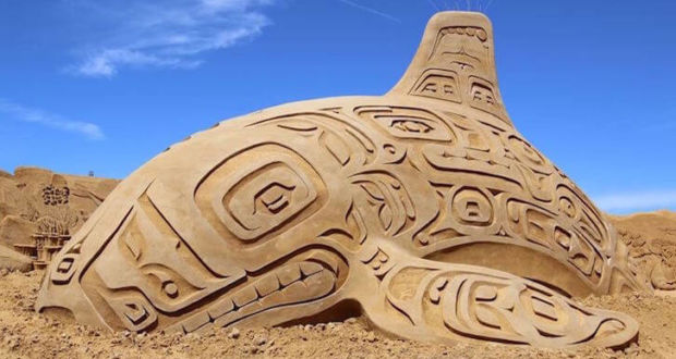 Скульптуры из песка в рамках ежегодного фестиваля Sondervig Sand Sculpture Festival