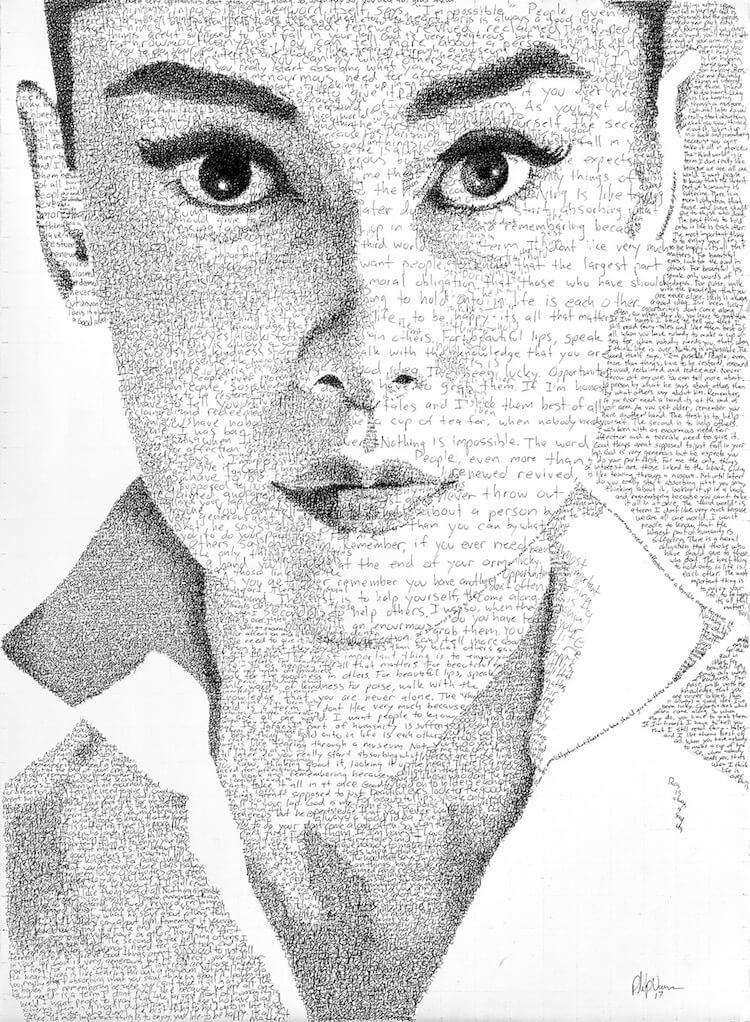 Портреты из рукописного текста от Phil Vance (Фил Ванс)
