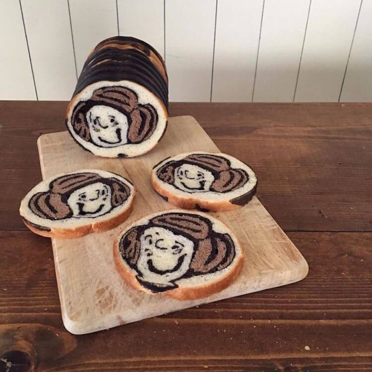 Рисунки на ломтиках хлеба от Ran (Рэн) - псевдоним Konel Bread